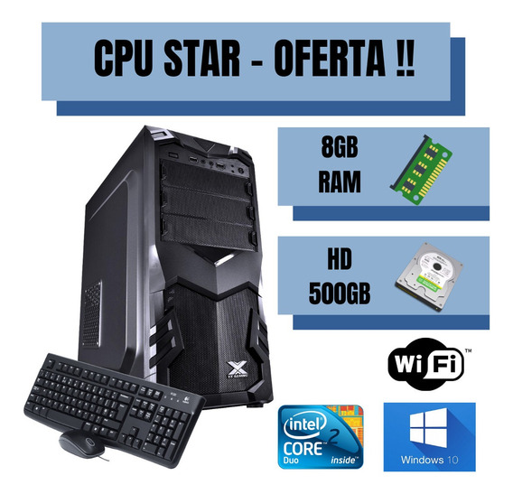 Cpu Core 2 Duo 500gb 8gb Ram Windows 10 - Com Programas