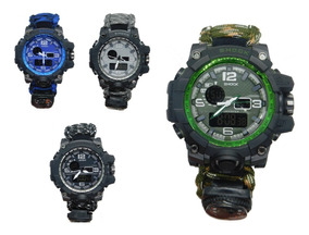 Relógio Masculino Anti Shock Sobrevivência C/ Bússola +caixa