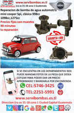 Reparación De Bombas De Agua Mini Cooper 998cc,1098cc,1275