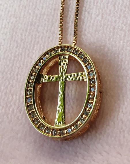 Colar Pingente De Cruz Com Zirônia Cravejado B. Ouro 18k