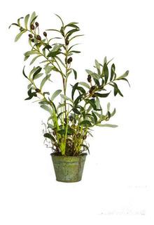 Planta Artificial De Olivo Con Maceta De Metal 70 Cm