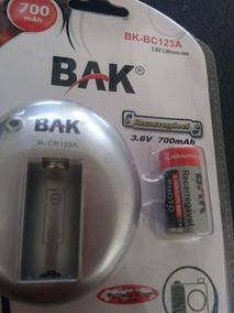 Carregador Bateria Maquina Fotografica Cr123a Com Bateria