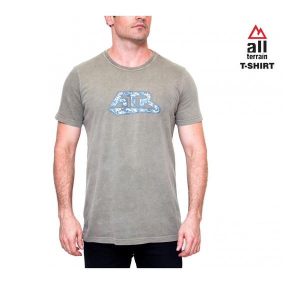Camiseta Atr Bege All Terrain Masculina Casual Malha Camisa