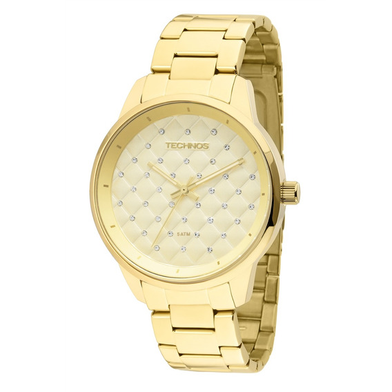 Relógio Technos Dourado 2035lxu/4d Oferta Nota Metal Barato