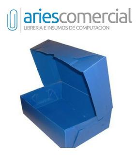 Caja Archivo Plastica Azul Oficio Tv 36x25x12 Pack X 10 Un