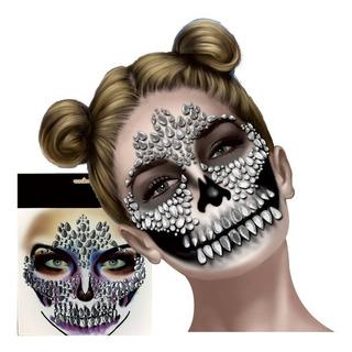 Mascara Temporal Cristales Cara Catrina Halloween Pegatina