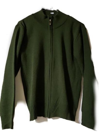Campera De Lana Acrilica, Color Verde Musgo, T U