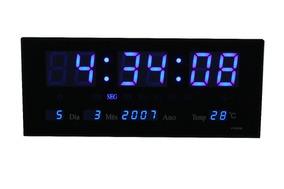 Relogio De Parede Grande Led Digital Alarme Br - Azul 36cm