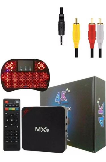 Conversor Smart Tv Box 4gb/32gb + Teclado + Cabo Av Rca/p2