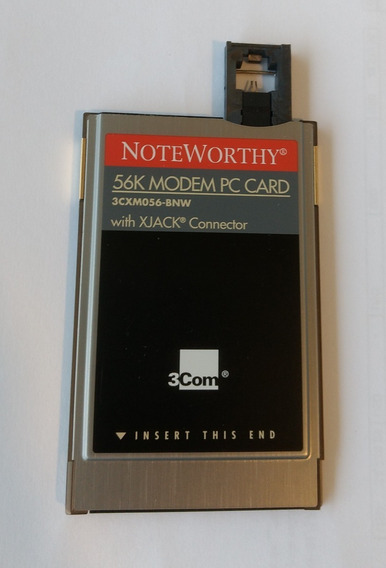 Modem Pc Card 3com Noteworthy 56k, With Xjack Connector