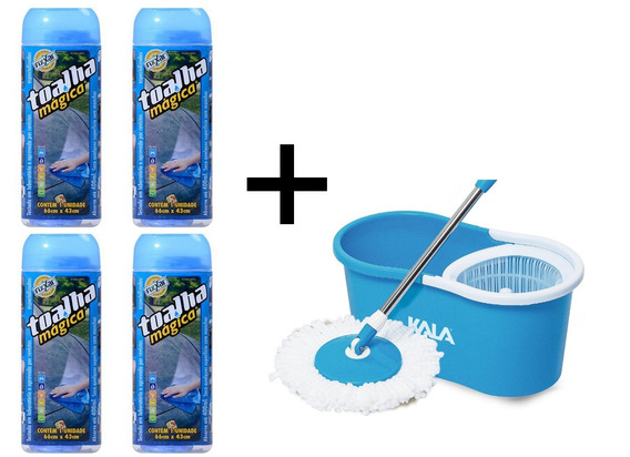 Spin Mop Azul Com Balde Kala + 4 Toalhas Mágica 66x43cm