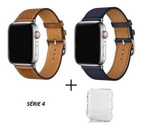 Pulseira Couro Apple Watch 40mm 44mm + Protetor Case Brinde