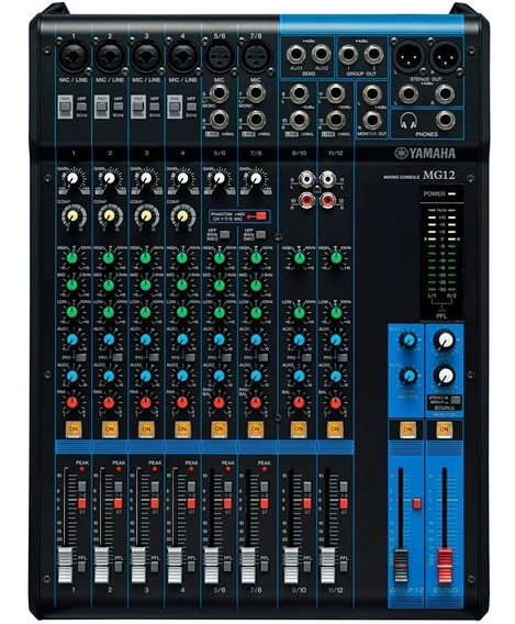 Mesa De Som Yamaha Mg12 Phantom Power 12 Canais Mixer