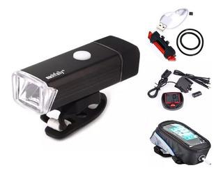 Kit Acessórios Bike Lanterna E Pisca Velocimetro E Case Cel.