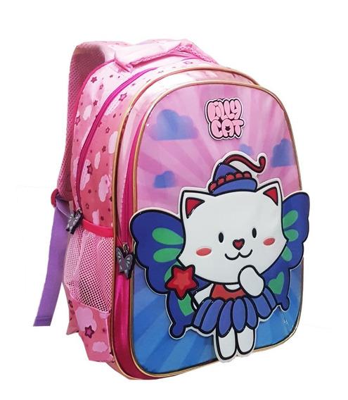 Mochila Escolar Costas Infantil Feminina Gatinha Lilly Cat