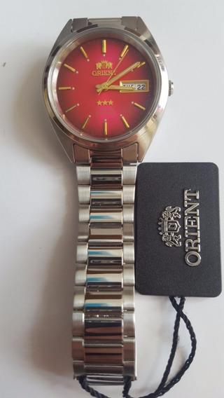 Relógio Orient Automatico Classico Aço Masculino Vermelho