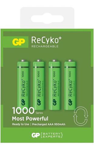 Imagen 1 de 6 de Pilas Recargables Aaa 950 Mah Serie 1000 Recyko+ Gp X 4 Un