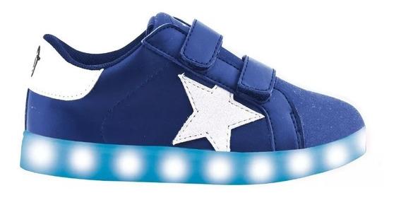 Zapatillas Mini Footy Azules Con Luces Led Usb 23 Al 29 Fty