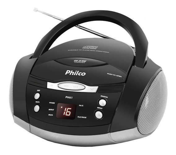 Som Portátil Philco Ph61 Rádio Fm Reproduz Cd