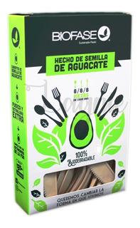 Caja 24 Cubiertos Biodegradables Ecológicos Biofase Semilla De Aguacate 17 Cm, 8 Cucharas, 8 Tenedores Y 8 Cuchillos