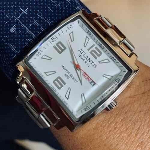 Relógio Atlantis Luxo Prata Quadrado Top!!