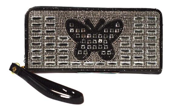 Billetera Importada Aida Plateada Con Negro Brillos Mariposa