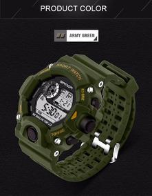 Relógio Sanda Esportivo S-shock Pulseira Borracha Verde Top