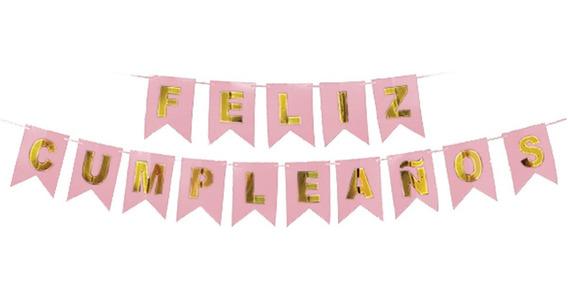 Banderín Feliz Cumpleaños Color Rosa Y Dorado - Cc