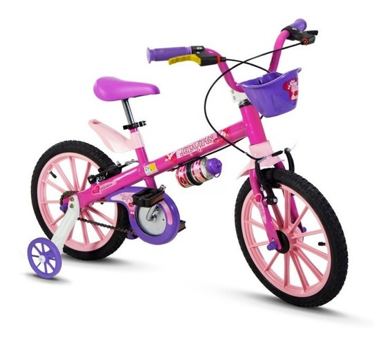 Bicicleta Infantil Aro 16 Rosa/roxa Top Girls - Nathor