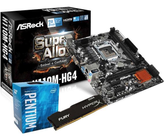 Kit Intel Pentium G4560 Mb H110m Hg4 Fury 4gb Ddr4 2400mhz