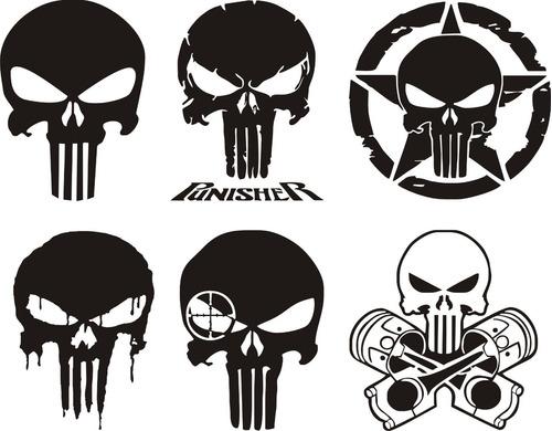 Imagen 1 de 2 de Calcos Kit Punisher 01 - 6 Calcomanias - Graficastuning 00017