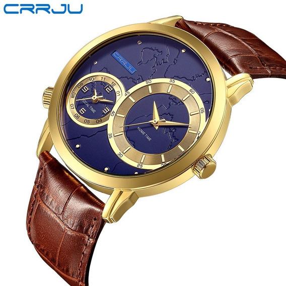 Relógio Masculino Esportivo Social Elegante Crrju 2131 Couro
