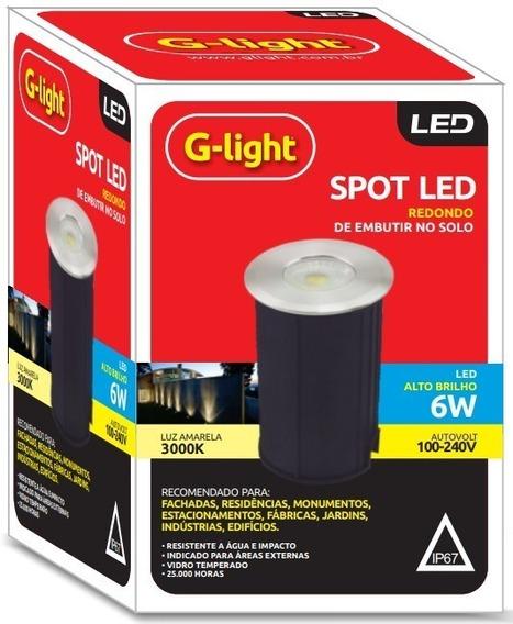 Kit 02 Balizador 6w Redondo Luz Amarela - G-light