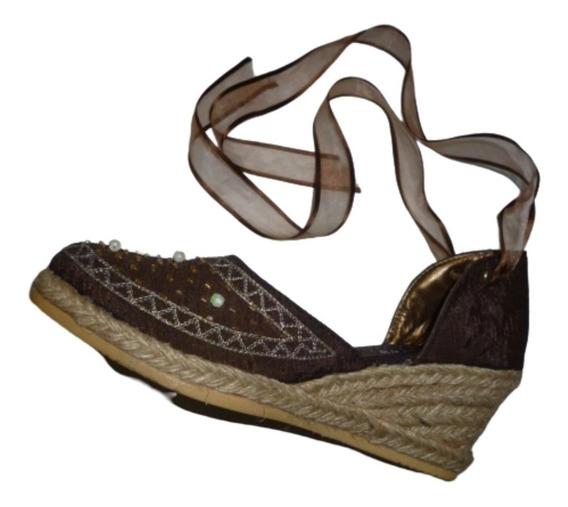 Zapatos Abiertos Bordada Sandalias Piedras Yute Gitana Cinta