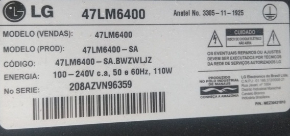 Tv LG 47lm6400 (tela Trincada) Venda De Peças