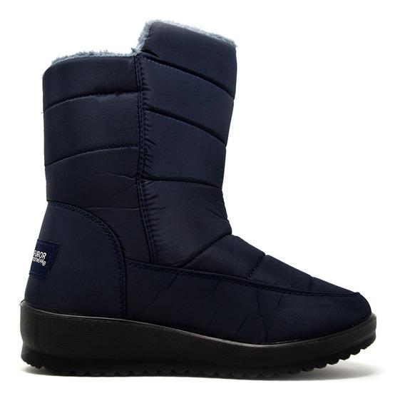 Zapatos Dama Estilo Bota Mediana Invernal 16373 Marino Furor