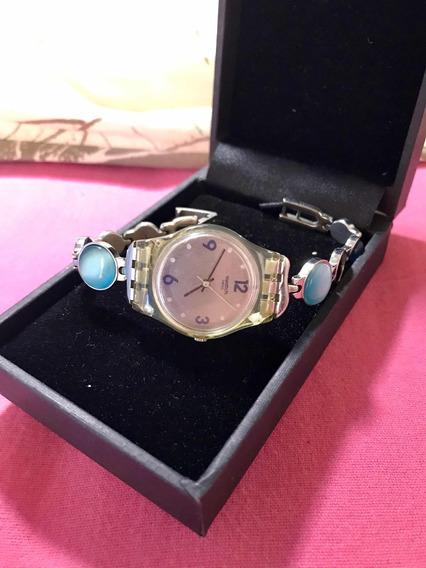 Relógio Swatch Prata E Pedras