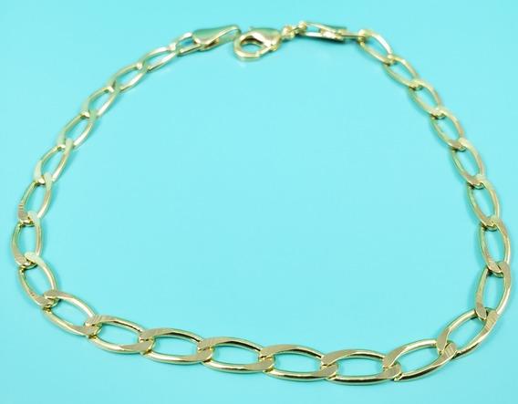 Pulseira Masculina Banhada À Ouro 18k Malha Cadeado - 3,5mm
