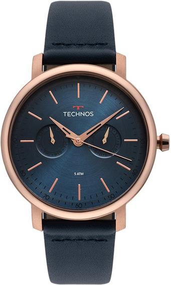 Relógio Technos Masculino Executive 6p25bs/2a Rose Couro