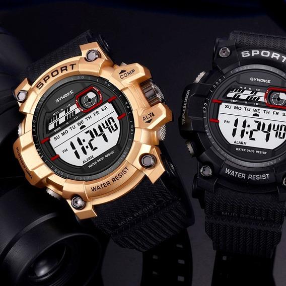 Reloj Deportivo Hombre Synoke Digital Cronómetro Dorado Gym