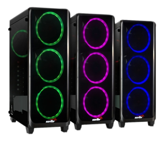 Gabinete Pc Gamer Sentey K20 + 4 X Fan Rgb Vidrio Templado