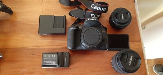 Canon T6i + Lente 50mm + Lente Do Kit + 2 Baterias + Tripé