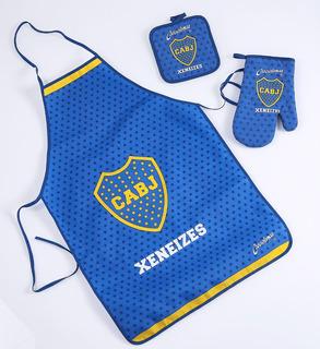 Set Cocina Agarradera, Manopla Y Delantal Boca Juniors