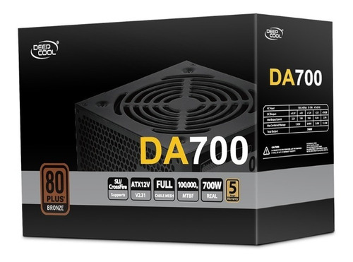 Imagen 1 de 9 de Fuente Gamer Deepcool Da700 700w Certificada 80 Plus Bronze