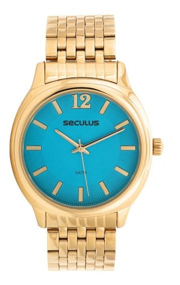 Relógio Seculus 20515lpsvds1 Dourado/azul