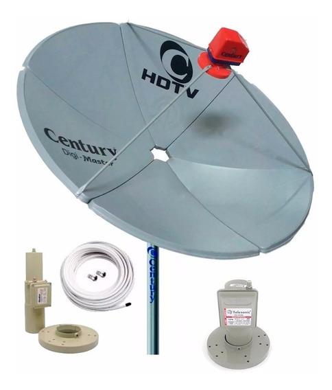 Antena Parabolica Century + Lnbf Duplo Dual Band Banda C E K