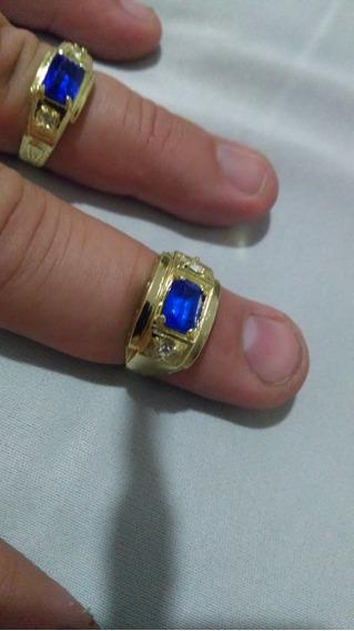 Lindo Anel De Formatura Pedra Azul Numero 24 Banhado A Ouro