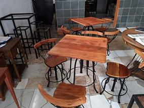 Mesa De Bar Com 4 Banquetas Estilo Antigo Retrô Rustico Bar
