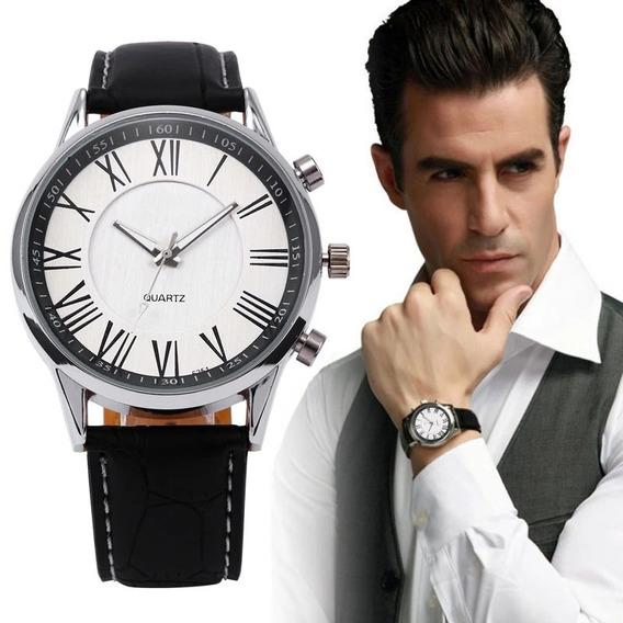 Relógio Masculino De Pulso Luxo Pulseira De Couro Analogico