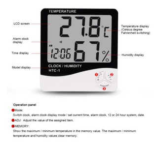 Termohigrometro Digital Higrometro,termometro,reloj Alarma